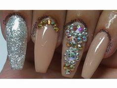 Consejos para aplicación de uñas acrilicas + diseño nude con plata y swa...