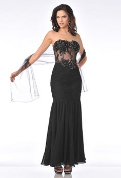 Black Ruched Chiffon Illusion Strapless Mermaid Prom Gown