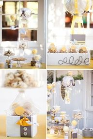 Grey and yellow hot air balloon baby shower