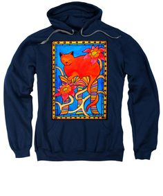 Sleeping Beauty Whimsical Cat Painting. Cat Art sweatshirt by Dora Hathazi Mendes. A gorgeous ginger cat having her beauty sleep, surrounded with lovely flowers, and a hand painted frame. The combination of warm tones, vibrant colors, and organic motifs, creating a colorful feminine feline painting. Ideal home decor for girls room. By #dorahathazi