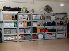 great shelving use of space - it really makes a difference when you are consistent in height & styles of shelving & bins