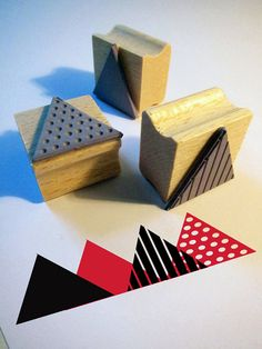 triangle rubber stamps from www.citoyennes.etsy.com