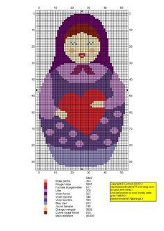 Matryoshka violet heart hama perler beads pattern