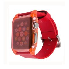 [USD3.54] [EUR3.19] [GBP2.49] Ultra Thin Crystal Clear Transparent PC Case + Leather Watchband for Apple Watch 38mm(Red)