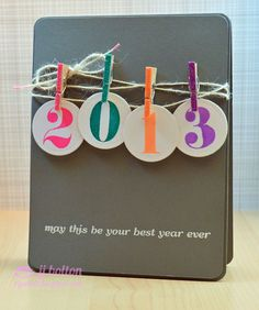 "Cute Handmade 2013 Card...with twine ""clothesline"" & mini glittered clothespins!  JJ Bolton-Handmade Cards."
