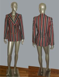 Vintage White Red Denim Blue Vertical Stripe Long by ANVINTROII, $65.00