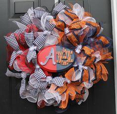 """House Divided"" Alabama/Auburn Deco Mesh Wreath.  Find me on www.facebook.com/southernhomewreathsandart"