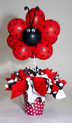 Ladybug balloons for a Ladybug Birthday Party Balloon Centerpieces, Balloon Decorations, Birthday Decorations, Ladybug Centerpieces, First Birthday Parties, Birthday Party Themes, Frozen Birthday, 2nd Birthday, Birthday Ideas