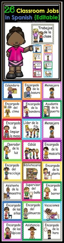 Are you looking for an organized, EDITABLE and cute way to keep up with classroom helper jobs? This classroom job chart in Spanish is perfect for you!