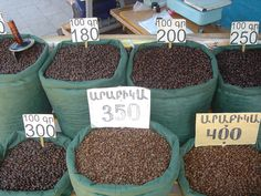 Coffee for sale in an Armenian market.