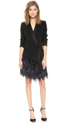 The feather skirt is actually detachable so that you can wear the blazer with something else. Haute Hippie  Oversize Tux Blazer Dress