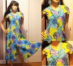 Vintage 1970s LIEBE Colorful Cabbage Rose Stretch Bodycon Swing Dress M #LIEBE