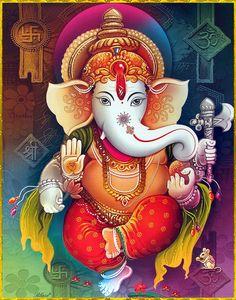 All hippies love Ganesh who stands for everything good ☮💟 Arte Ganesha, Arte Shiva, Shri Ganesh, Shiva Art, Hindu Art, Ganesh Lord, Ganesh Idol, Jai Hanuman, Ganesh Chaturthi Images
