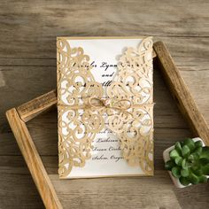 Gold Laser Cut Soft Pink Paper Flower Wedding Invites IWSM040