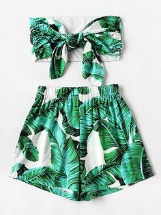 9e48dc42aef Shop Green Leaf Print Tie Front Crop Top And High Waist Shorts from  choies.com .Free shipping Worldwide. 20.39