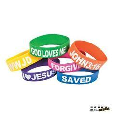 Assorted Rubber Religious large band Bracelets (1 Dozen), By FiveStar Fabulous