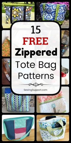 Over a dozen free zippered tote bag sewing patterns, tutorials, and diy projects. Get ideas and step by step instructions for how to sew a lined zip-top tote bag. Great for kids and school. Bag Patterns To Sew, Tote Pattern, Sewing Patterns Free, Free Sewing, Easy Tote Bag Pattern Free, Diaper Bag Patterns, Handbag Patterns, Pattern Sewing, Diy Sewing Projects