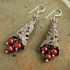 Cranberry Red Pearl Earrings Sterling Silver by mamisgemstudio