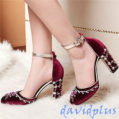 Rhinestone Bling Women Lady Pump Shoes Ankle Strappy Wedding Party Shoes Size