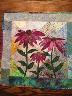 Heart Quilt Pattern, Quilt Patterns, Small Quilts, Mini Quilts, Quilting Projects, Quilting Designs, Landscape Art Quilts, Hanging Flower Wall, Summer Quilts