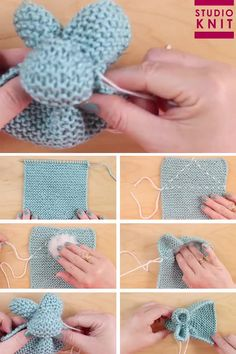 Knit up a square in the Garter Stitch to easily create the stuffed softie animal shape of a Bunny. These little cuties are quick knit favorites for beginning knitters. crochet crafts Knit a Bunny from a Square Crochet Pattern Free, Softie Pattern, Easy Knitting Patterns, Knitting Stitches, Free Knitting, Tutorial Crochet, Easy Knitting Ideas, Disney Crochet Patterns, Round Loom Knitting
