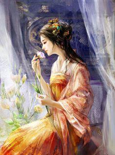 Beautiful Digital Illustration by Phoenix Lu. 3d Fantasy, Fantasy Girl, Illustration Girl, Digital Illustration, Art Chinois, Art Manga, Art Asiatique, Art Japonais, Ancient Art