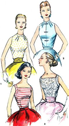 1950s Blouse Pattern Simplicity 1625 Sleeveless Blouse Mandarin Collar or Square Neckline Vintage Sewing Pattern Bust 31