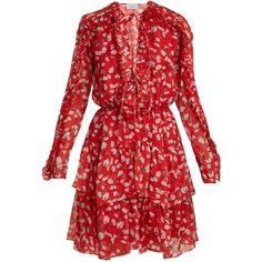 Raquel Diniz Adah floral-print silk-chiffon dress ($1,265) ❤ liked on Polyvore featuring dresses, red white, floral print dress, ruffle dress, red ruffle dress, red dresses and white floral print dress