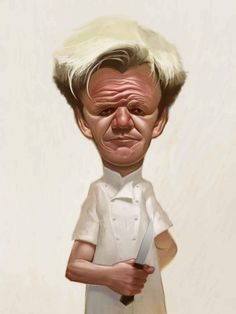 Caricature of Kitchen Nightmare's Gordon Ramsey