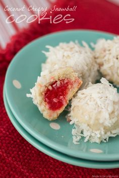 These coconut cherry snowball cookies are delicious and perfect for a Christmas cookie exchange!