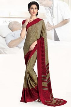 9b1ec0c794 Beautiful Dark Cream and Red Printed #CasualWear Saree With Matching  #Blouse Saree Styles,
