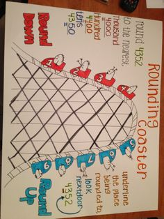 Rounding Numbers, rounding coaster by thebigbiglemon Math Strategies, Math Resources, Math Activities, Fourth Grade Math, Second Grade Math, Rounding 3rd Grade, Grade 1, Math Anchor Charts, Rounding Anchor Chart