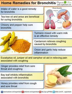 Home Remedies for Bronchitis Home remedies for bronchitis include some common and easy to use herbs and spices such as turmeric, ginger, bay leaf, honey, onion, chicory, eucalyptus oil, juniper, thyme etc. Bronchitis can be caused due to infection by bacteria and viruses or by factors such as smoking and inhalation of noxious fumes and dust.