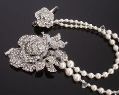 The Anita, Silver Rose Pearl Hair Drape