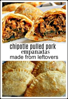 Empanadas are a fave whether a traditional filling or a crazy wild combo, they're just fun! They shout party! These Chipotle Pulled Pork Empanadas are no exception - and they start from leftover pulled pork! Pulled Pork Empanadas leftovers empanadas via Mexican Dishes, Mexican Food Recipes, Leftover Pork Roast, Leftover Pulled Pork, Leftover Pork Recipes, Venison Recipes, Enchiladas, Carne, Pork Empanadas