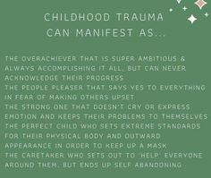 Childhood trauma can manifest as : recovertogether Mental And Emotional Health, Mental Health Quotes, Emotional Healing, Emotional Abuse, Trauma Quotes, Child Abuse Quotes, Childhood Quotes, Inner Child Healing, Trauma Therapy