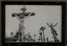 "Original Charcoal Drawing: ""Hill of Crosses"" by Katie Marie - featuring Jesus on Cross surrounded by hundreds of prayer crosses and rosaries by KatieMarieArts on Etsy"