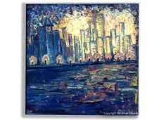 "City Painting City Lights ""One Lively Night"" Oil Painting by TheAtticTheory, $105.00"