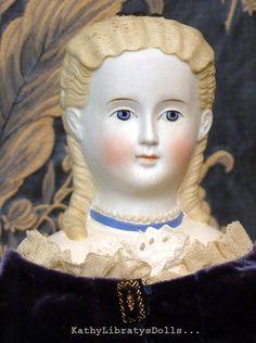 Super RARE 21 Civil War Era Parian Doll w Very Fancy Hairdo Bow Collar C1865 | eBay