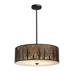 Elk Lighting Woodland Sunrise 5 Light Pendant In Aged BronzeEtched into stainless steel, a serene tree-lined meadow is revealed with intricate branch detailing. An aged bronze finish with an amber diffuser maximizes the realism of the setting. Bronze Pendant Light, Led Pendant Lights, Drum Pendant, Pendant Light Fixtures, Pendant Lighting, Ceiling Pendant, Round Pendant, Park Lighting, Modern Lighting