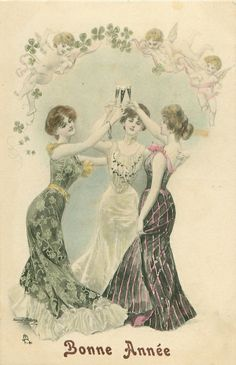 three young women raise their glasses in a toast, angels & shamrock above