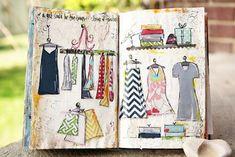 summer boutique mixed media journal page by Junelle Jacobson #video_tutorial http://yesandamenblog.blogspot.com/2012/08/a-little-summer-project.html