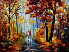 Leonid Afremov, oil on canvas, palette knife, buy original paintings, art, famous artist, biography, official page, online gallery, large artwork, impressionism, landscape, park, walk,