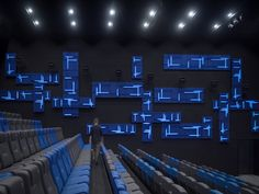 Image 8 of 10 from gallery of Cine Sky Cinema / One Plus Partnership. Photograph by Jiangnan Photography Sky Cinema, Cinema Theatre, Theater, Drafting Software, Blue Ceilings, City Select, Theatre Design, Shenzhen, Visual Effects