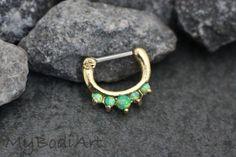 Opal Septum Piercing Jewelry Gold Clicker with Green Opal - MyBodiArt.com
