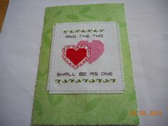cross stitch wedding card available in my etsy shop - debbywebbyscards