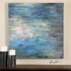 Colorful, oversized hand painted artwork on canvas. Due to the handcrafted nature of this artwork, each piece may have subtle differences. Perfect for entryways, living areas or bedrooms. - 40 W x 40                                                                                                                                                      More