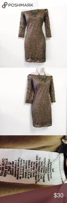 Taupe Lace Off The Shoulder Body Con Dress * Condition: NWOT * Brand: Ambiance * Size: Large * Armpit to armpit: 16.5 inches * Length: 30.5 inches * This item is super cute for the spring and summer! * Wedding season is coming soon and this is the perfect piece! Ambiance Dresses Mini