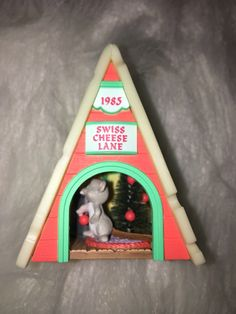 Hallmark Keepsake Swiss Cheese Mouse ornament, 1985 Hallmark Mouse ornament, Swiss Cheese Lane Mouse House ornament, Vintage Hallmark by WithLoveFromConnie on Etsy https://www.etsy.com/listing/491171579/hallmark-keepsake-swiss-cheese-mouse