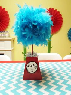 Centerpieces at a Dr. Seuss Cat in the Hat birthday party! See more party planning ideas at CatchMyParty.com!